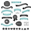 Set of simply flat vintage ribbons vector Stock Images