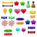 Set single cartoon candies, lollipop, candy, desserts. Illustration, isolated on white. Cartoon style