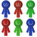 Set of six award ribbons Stock Photo
