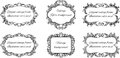 Set of six black and white frames for text in Royalty Free Stock Photo