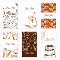 Set of six business cards. Beer company. Restaurant theme. Vector illustration. Royalty Free Stock Photo