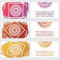 Set of six business cards. Vintage pattern in retro style with mandala. Royalty Free Stock Photo