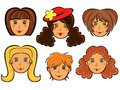 Set of six cartoon women faces with funny on white background hand drawing vector illustration Royalty Free Stock Image