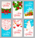 Set of six christmas cards beautiful for the new year and with place for text Stock Photography