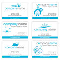 Set of six cleaning business cards Royalty Free Stock Photo