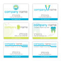 Set of six dental business cards Stock Photo
