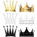 Set of six different crowns Stock Image