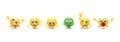 Set of six emoji icons