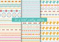 Set of six ethnic seamless patterns. Aztec geometric backgrounds. Stylish navajo design. Royalty Free Stock Photo