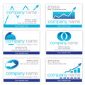 Set of six financial business cards Royalty Free Stock Photos
