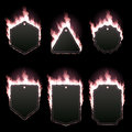 Set of six frames surrounded with pink flame Royalty Free Stock Photo