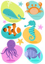 Set six fun character sea creatures including crab octopus seahorse clownfish whale tropical fish Stock Photos