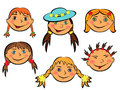 Set of six funny girls faces with smiling teen on white background hand drawing cartoon vector illustration Stock Image