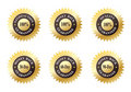 Set of Six Gold Seals Stock Images
