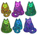 Set of six hand drawn doodle colorful cats with floral ornament Royalty Free Stock Photo