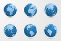 Set of six high detailed vector globes. Royalty Free Stock Photo