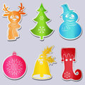 Set six icons snowman wearing scarf hat, deer head, tree, ball, bell with leaves berries holly, stocking or boot elf. Royalty Free Stock Photo