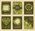 Set of six nature vector banners Royalty Free Stock Photo