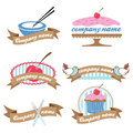 Set of six retro cookery logos (vector) Royalty Free Stock Images