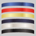 Set of six satin ribbons in primary colors image a colorful isolated on a background Royalty Free Stock Images