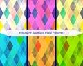Set of six seamless modern plaid patterns. Royalty Free Stock Photo