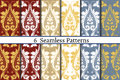 Set of six seamless pattern of baroque style.