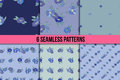 Set of six seamless patterns with blue flowers