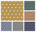 Set of six seamless patterns that consist of entwined metal rings of different colors Stock Photos