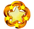 Set of six shiny gold stars in motion Royalty Free Stock Image