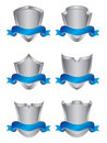 Set of six silver shields Royalty Free Stock Image
