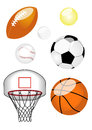 Set six sports balls including american football tennis ball baseball football basketball basketball net Royalty Free Stock Photography