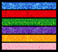 Set of six tiled colorful banners Stock Photo