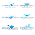 Set of six transport and travel logos suitable for logistics companies agents Royalty Free Stock Photos