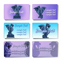 Set of six vector cards depicting gargoyles Royalty Free Stock Photo