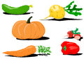Set six vegetables useful to health Royalty Free Stock Photo