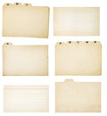 Set of six vintage tabbed index cards collection yellowing and two faded lined without tabs each card or group is isolated on Stock Photography