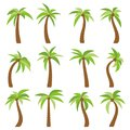 Set of sixteen different cartoon palm trees  on white background Royalty Free Stock Photo