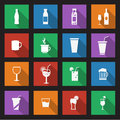Set of sixteen drink icons drinks with bottles and glasses on a black background Royalty Free Stock Image