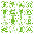 Set of sixteen ecology icons green conceptual vector illustration Royalty Free Stock Photography
