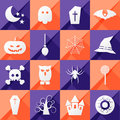 Set of sixteen halloween icons vector Royalty Free Stock Images