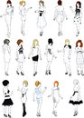 Set of sixteen mannequins in white cocktail dresses silhouettes beautiful girls detailed with stylish hairdo Royalty Free Stock Images