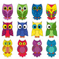 Set of sixteen owls colourful vector isolated on white background Stock Image