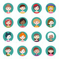 Set of sixteen round women user profile icons. Flat style vector illustration