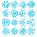 Set of sixteen snowflakes vector illustration Stock Photos