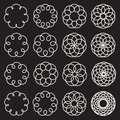 Set of Sixteen Spirograph Line Circles Decorative Design Elements Royalty Free Stock Photo