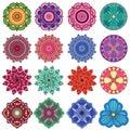 Set of sixteen stylish color flowers Royalty Free Stock Photo