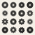 Set of Sixteen Vector Black White Flower Petal Star Shape Design Elements