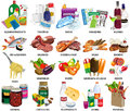 Set of sixty four supermarket icons includes food ingredients babies products cleaning products toiletries magazines and paper bag Royalty Free Stock Photography