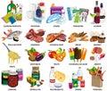 Set of sixty four supermarket icons