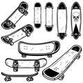 Set of skateboard and longboard illustrations on white background. Design element for logo, label, emblem, sign, badge, t shirt, p